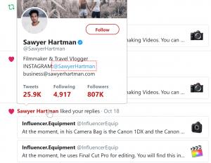 Sawyer Hartman Camera Gear Equipment